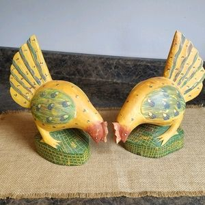 Pair of Foreside Wooden Chicken Figurines